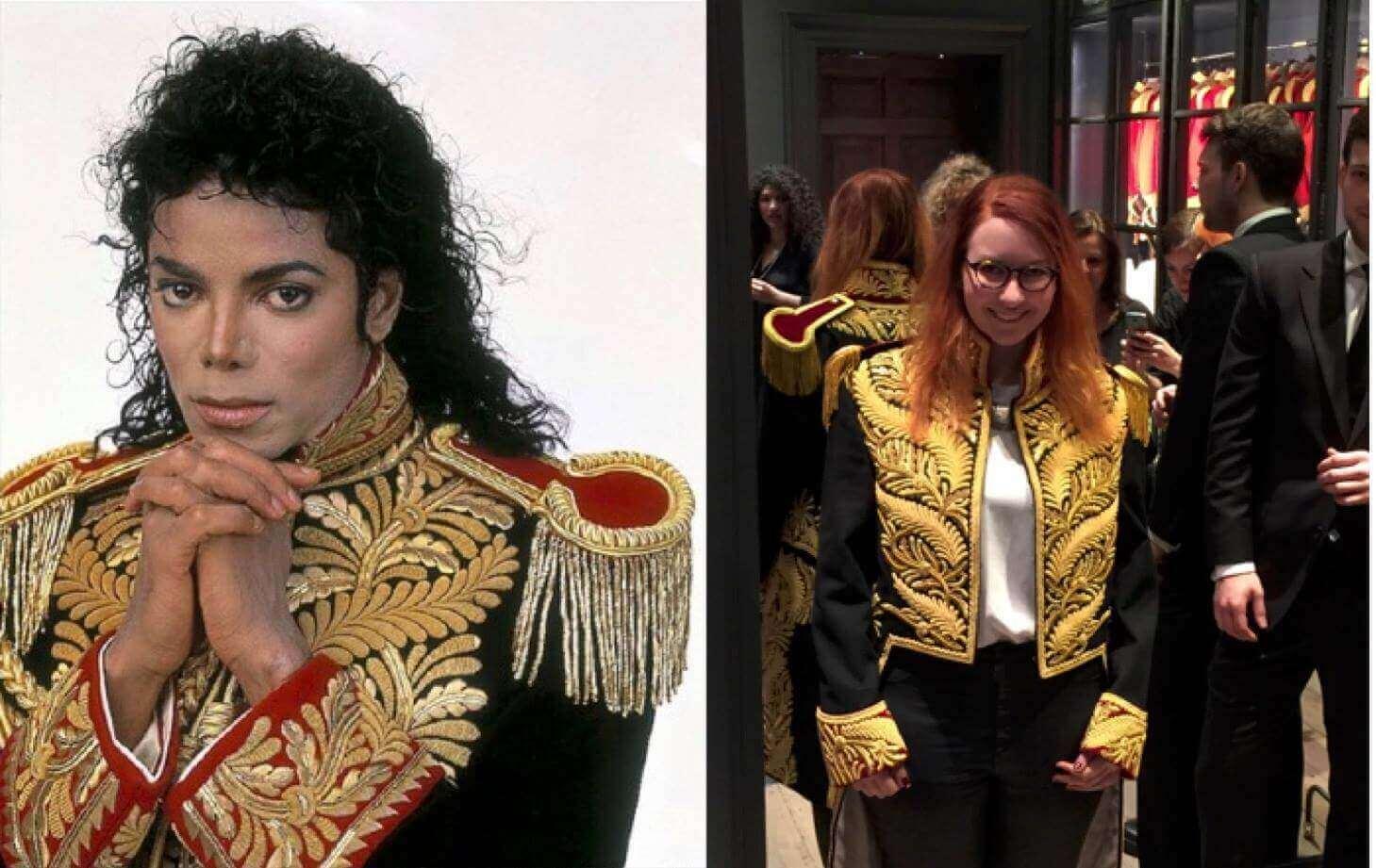 Jacke von MJ Anprobe
